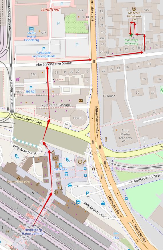 Karte, die den Weg vom Heidelberger Hauptbahnhof zum Selbsthilfebüro zeigt.